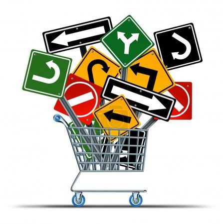 Photo pour Orientation d'achat concept d'acquisition d'entreprise et guide du consommateur sur les ventes en tant que chariot de magasin avec un groupe de panneaux de signalisation embrouillants comme métaphore de la stratégie de marketing et d'orientation de l'industrie de détail . - image libre de droit