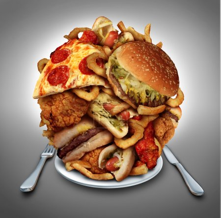 Photo for Fast food diet concept served on a plate as a mountain of greasy fried restaurant take out as onion rings burger and hot dogs with fried chicken french fries and pizza as a symbol of compulsive overeating and dieting temptation resulting in unhealthy - Royalty Free Image