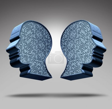 Photo for Bipolar disorder concept as a human head divided in two pieces with a maze or labyrinth inside as a mental health care symbol and medical psychological metaphor for the social behavior challenges of the disease. - Royalty Free Image