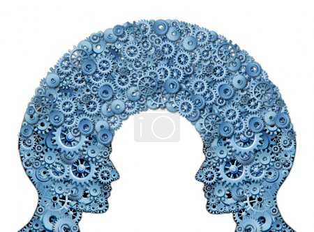 Photo for Working team and teamwork education symbol represented by two human heads shaped with a group of gears and cogs as a concept of intellectual communication through technology exchange. - Royalty Free Image