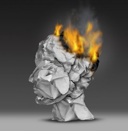 Photo for Headache  and mental illness concept as a group of crumpled office paper shaped as a human head that is on fire burning away at the brain as a symbol and medical metaphor for emotional stress at work or degenerative dementia disease as alzheimers. - Royalty Free Image