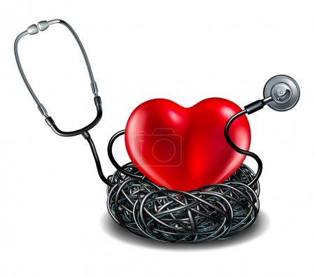 Photo for Heart care medical concept as a stethoscope shaped as a bird nest protecting the symbol for cardiology as a metaphor for health insurance and medical wellbeing. - Royalty Free Image