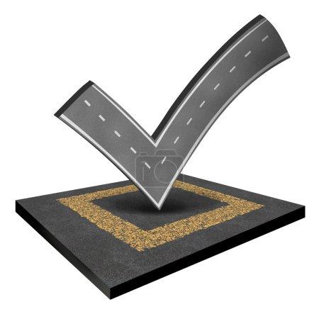 Photo pour Inspection routière pour la construction d'une route inspectée par un ingénieur et liste de vérification des déplacements concept comme une rue ou une route en forme de crochet isolé sur un fond blanc . - image libre de droit