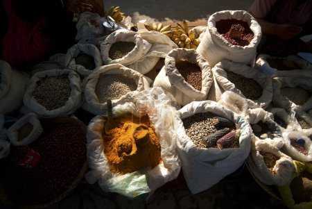 Bags containing spices and dry beans