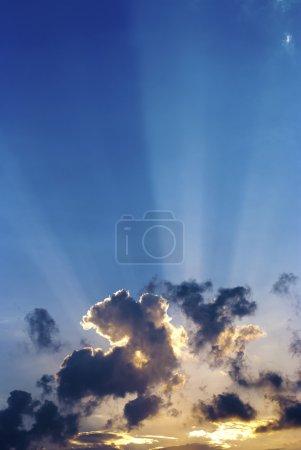 Blue sky at sunset