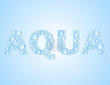Water drops shaped word AQUA - vector background