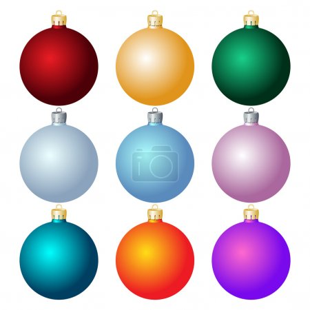 Illustration for Set of Christmas balls on white background. Vector illustration. - Royalty Free Image