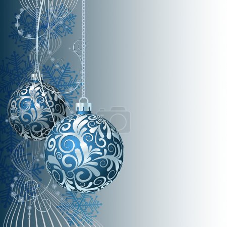 Illustration for Blue Christmas card with Christmas balls and snowflakes - Royalty Free Image