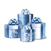 Silver and blue gift boxes