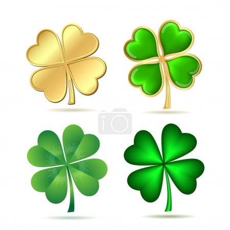 Set of four-leaf clovers isolated on white.