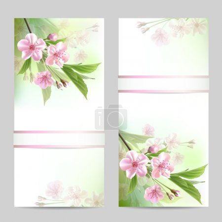 Illustration for Set of spring banners with blossoming tree branch with pink flowers. Vector illustration - Royalty Free Image