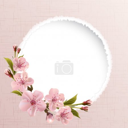 Spring header with pink cherry flowers, buds and c...