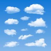 Set of Clouds on blue sky Vector illustration