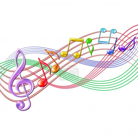Illustration for Colorful musical notes staff background on white. Vector illustration. - Royalty Free Image