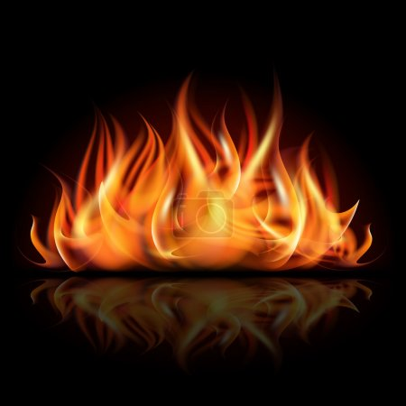 Illustration for Fire on dark background. Vector illustration - Royalty Free Image