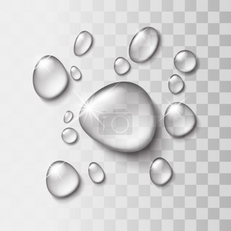Transparent water drop on light gray background, v...