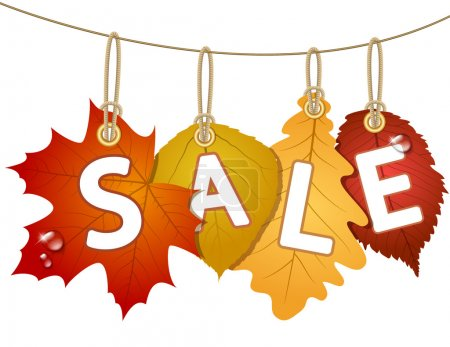 Hanging vector sale with autumn leaves