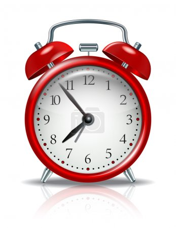Illustration for Red alarm clock on white background - Royalty Free Image