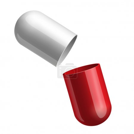 Opening red medical capsule