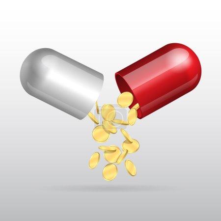 Illustration pour Des pièces d'or coulant d'une capsule médicale ouverte. Illustration vectorielle - image libre de droit