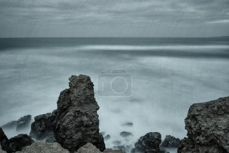 Photo for Dramatic seascape texture mapped. In cold tones. - Royalty Free Image
