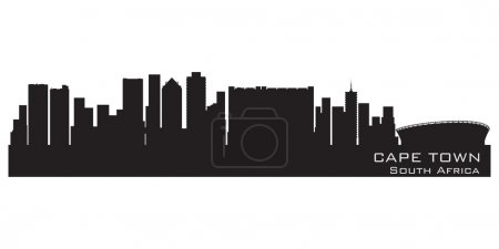 Illustration for Cape Town, South Africa skyline. Detailed vector silhouette - Royalty Free Image