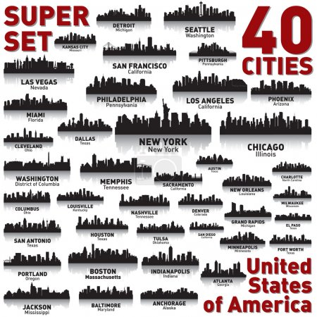 Illustration for Incredible city skyline set. 40 city silhouettes of United States of America - Royalty Free Image