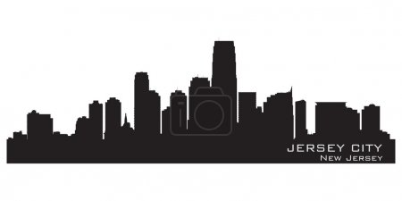 Jersey City, New Jersey skyline. Detailed silhouette