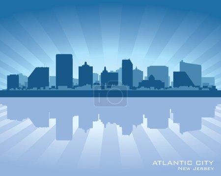Atlantic City, New Jersey skyline silhouette
