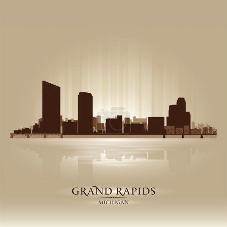 Grand Rapids Michigan city skyline silhouette. Vec...