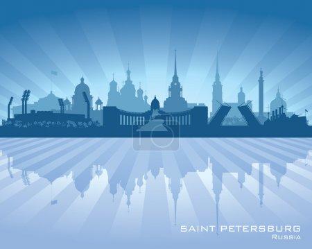 Illustration pour Sankt Petersburg Russie skyline silhouette détaillée. Illustration vectorielle - image libre de droit
