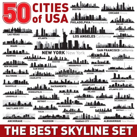 Photo pour Super ville skyline ensemble. 50 vector silhouettes de ville des usa - image libre de droit