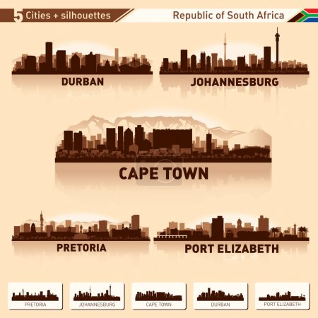 Illustration for City skyline set South Africa Vector silhouette illustration. - Royalty Free Image