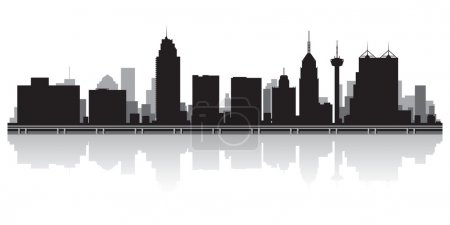 Illustration for San Antonio USA city skyline silhouette vector illustration - Royalty Free Image