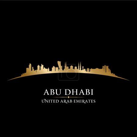 Abu Dhabi UAE city skyline silhouette black background