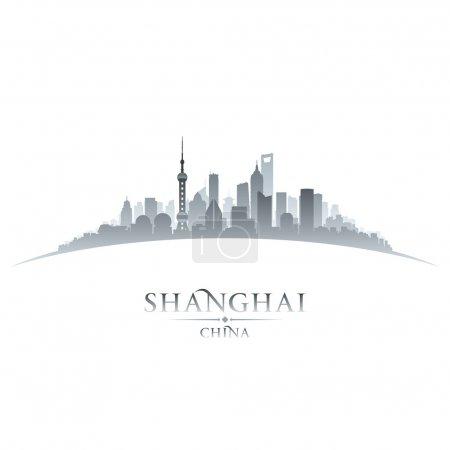 Силуэт силуэт китайского горизонта в Шанхае