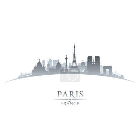 Paris France city skyline silhouette white background