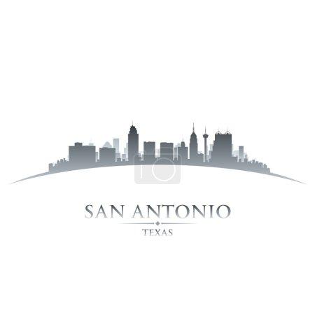 San Antonio Texas city skyline silhouette white background