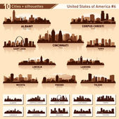 City skyline set 10 city silhouettes of USA N6