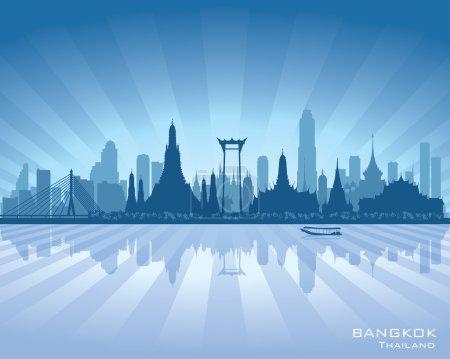 Bangkok Thailand city skyline vector silhouette
