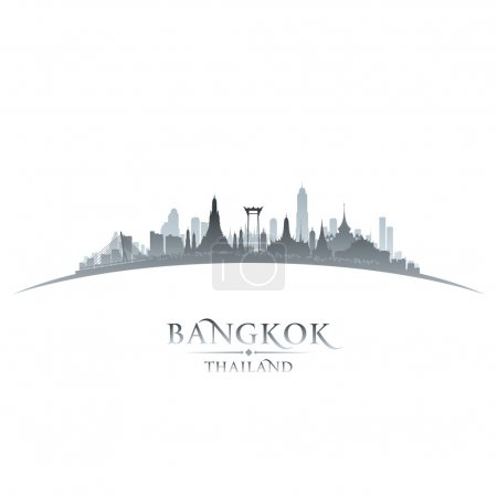 Bangkok Thailand city skyline silhouette white background