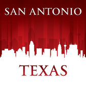 San Antonio Texas city skyline silhouette red background