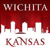 Wichita Kansas city silhouette red background