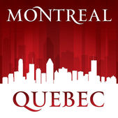 Montreal Quebec Canada city skyline silhouette red background