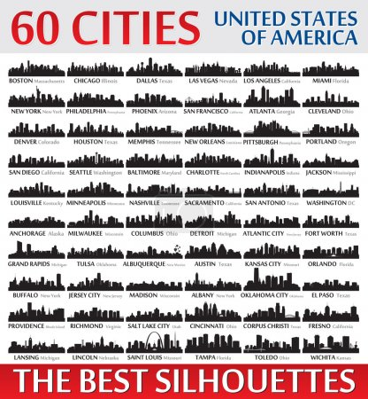 Incredible city skyline silhouettes set. United States of Ameri