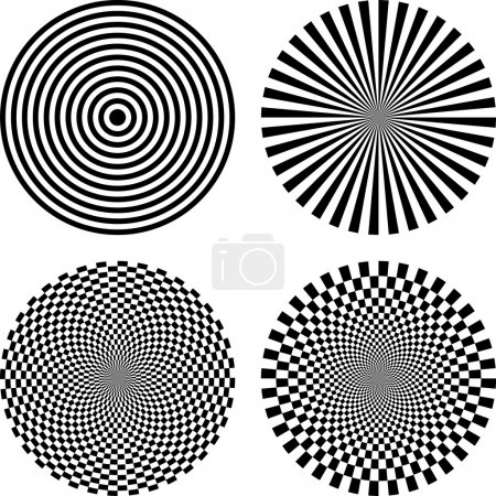 Illustration for Black and white vector illustration of optical illusion background - Royalty Free Image