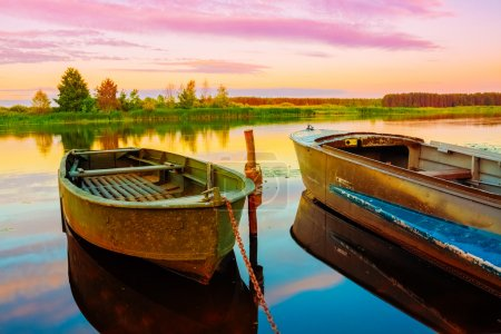 Photo for Autumn River And Old Green Rowing Boats. Russian Landscape, Nature - Royalty Free Image