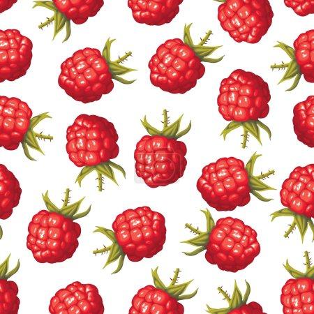 Illustration pour Modèle sans couture d'image réaliste de délicieuses framboises mûres - image libre de droit