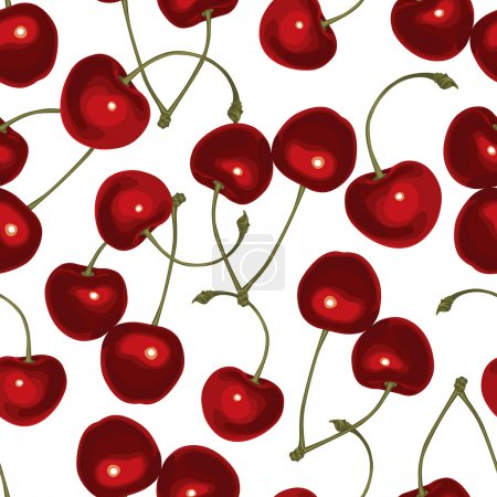 Illustration for Seamless pattern of realistic image of delicious ripe cherries - Royalty Free Image