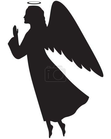 Illustration pour Silhouette d'un ange de Noël de profil avec ses mains jointes en prière - image libre de droit